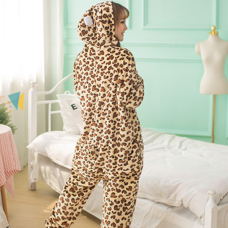 Adults Animal   Pajamas     Sets   Cartoon Sleepwear Cosplay Zipper Women Men Winter Unisex Flannel Leopard   Pajamas