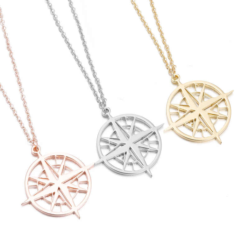 SMJEL Punk Geometric Compss Necklace For Women Lover's Men Gift Tiny Round Compass Handmade necklace jewelry