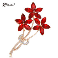 5 Petals Flower Rhinestone Brooches Rose Gold Color Fashion Bouquet Brooches Pins For Women Garment Accessories AI860018