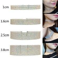 Chain Punk Necklace Jewelry Wedding-Accessories Collier Rhinestone Choker Crystal Women