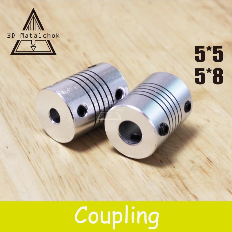 все цены на 1pcs 5x8 or 5x5 aluminum CNC Motor Jaw Shaft Coupling Flexible Coupler for 3d printer stepper motor parts онлайн
