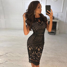 Seamyla 2019 New Women Bandage Dress Sexy Celebrity Party Dresses Black Lace Vestidos Clubwear Bodycon Runway Dress Knee Length