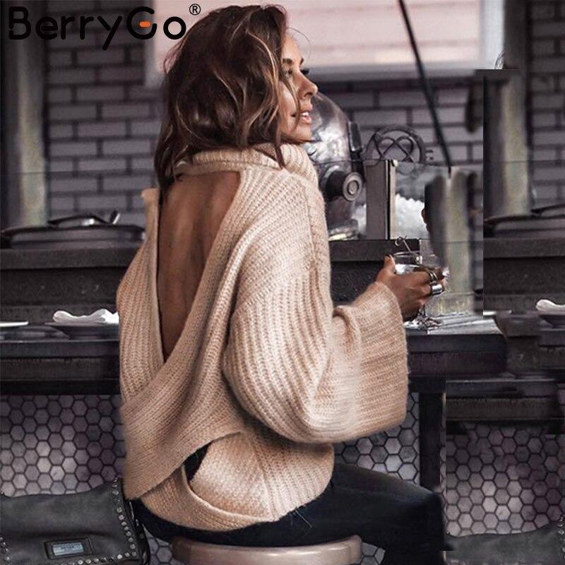 BerryGo сексуальный свитер с открытой спиной и перекрестной вязкой Женский водолазка с рукавом «летучая мышь» 2018 осень зима Повседневный Свободный пуловер Джемпер