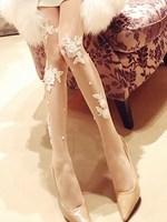 Princess Sweet Lolita Handmade Lace Pearl Ultra Thin Arbitrary Cut Transparent Meat Silk Stockings Pantyhose Render