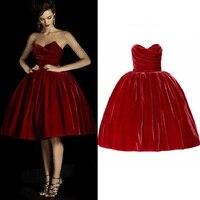 2017 New Fashion Red Velvet Bubble Dresses Women Knee Length Wrap Chest Vintage Party Club Dress