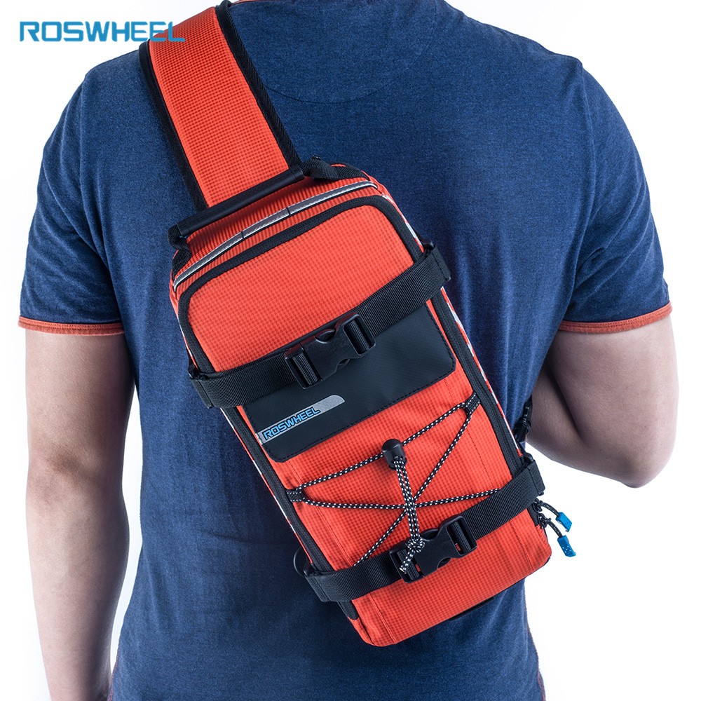 Roswheel Bicycle Bag Men Women Bike Rear Seat Saddle Bag / Crossbody Bag For Cycling Accessories Outdoor Sport Riding Backpack
