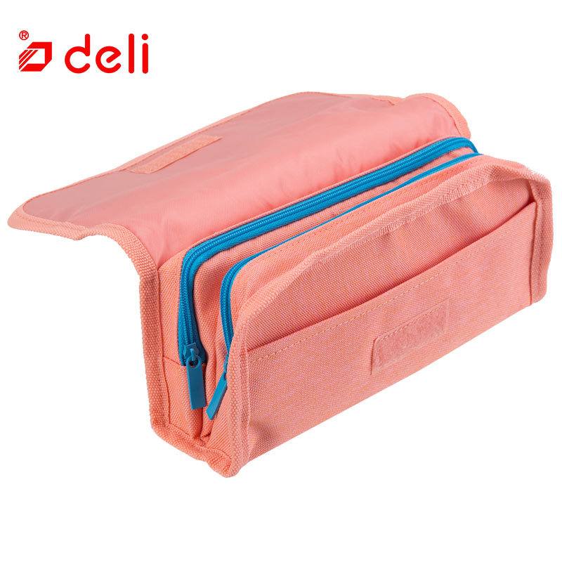 Deli Big Pencil Case School Canvas Holder Pouch Stationery pencil box Double Layers Pencilcase Sketch Brush pen Pencil Bag Tools big capacity high quality canvas shark double layers pen pencil holder makeup case bag for school student with combination coded lock