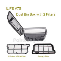 Original ILIFE V7S Dust Bin Box 500ml With 2 Filters Robot Vacuum Cleaner Spare Parts From