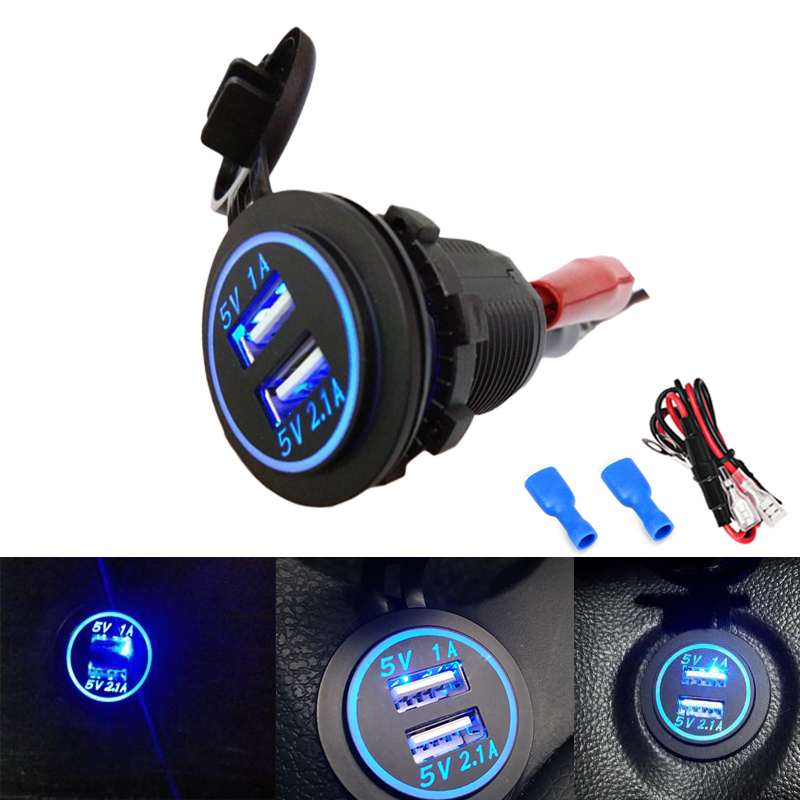 Dual Car <font><b>USB</b></font> Adapter <font><b>Charger</b></font> Socket For VW For Iphone Samsung 4.1A Mini <font><b>Auto</b></font> <font><b>Charger</b></font> Cigarette Lighter Car-<font><b>Charger</b></font> 12V 24V image