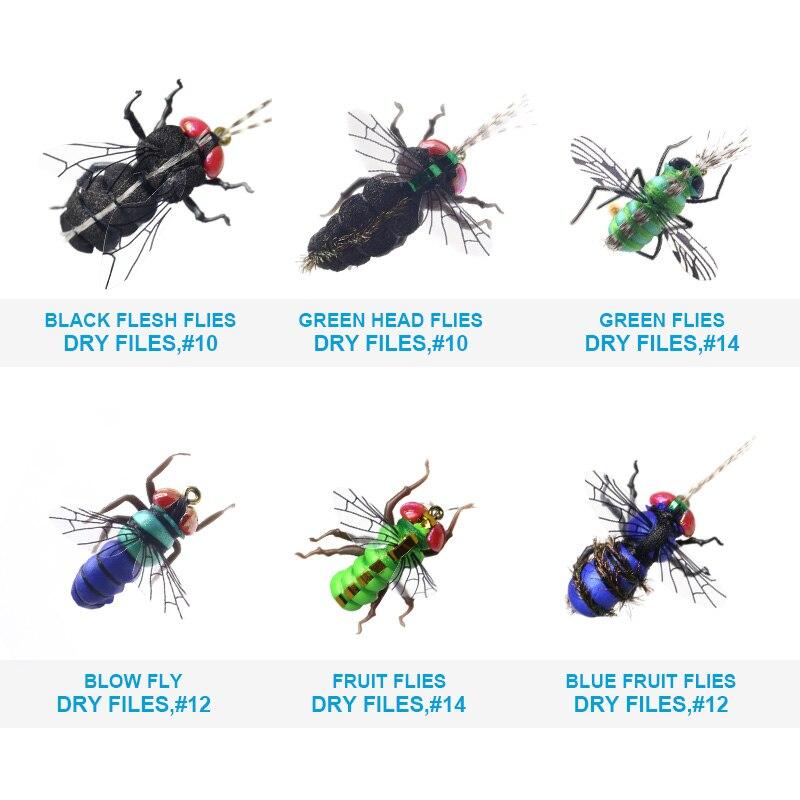 Image 3 - Реалистичные комаров дом рыболовные крючки мухи комплект 60 шт. приманки для насекомых для форель маски сухая муха приманка комплект летать-in Наживка from Спорт и развлечения