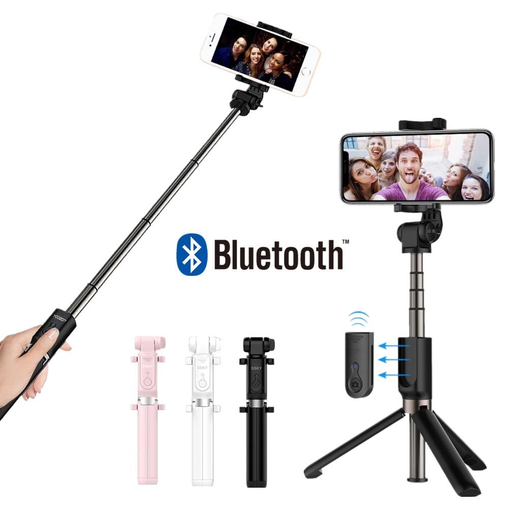 T3 Tripé Dobrável Remoto Selfie Vara Tripé Mini Bluetooth Selfie Vara Para iPhone IOS X SE 8 Plus Xiaomi Android
