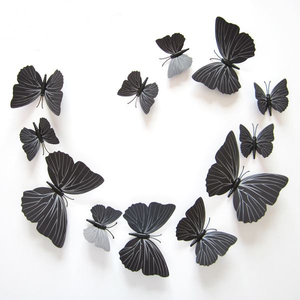 12Pcs/Set PVC Black Butterfly 3D Wall Sticker Mural DIY Design Poster Vintage Decoration Sticker Wall Home Decor Living RoomY103