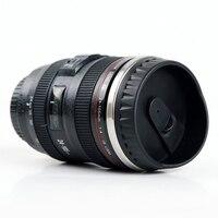 ספל עדשת המצלמה קפה נסיעות תרמוס-נירוסטה מבודדת גביע עם מכסה נקי קל 13.5 oz שחור