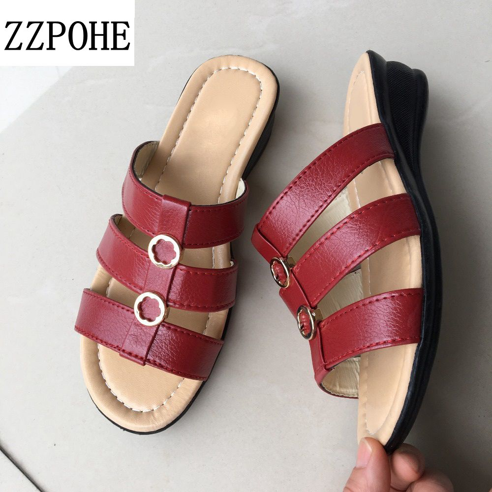ZZPOHE 2017 Summer new Woman slippers middle-aged flat Women Comfortable slippers slope leisure large size mother slippers 41 42 аккумулятор fenix arb l18 2600