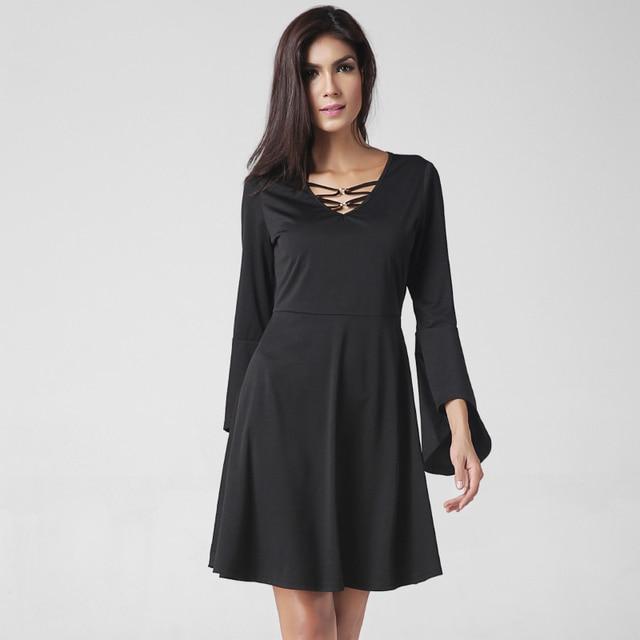 Spring Formal Maternity Knee Length Dress Black Loose Comfortable