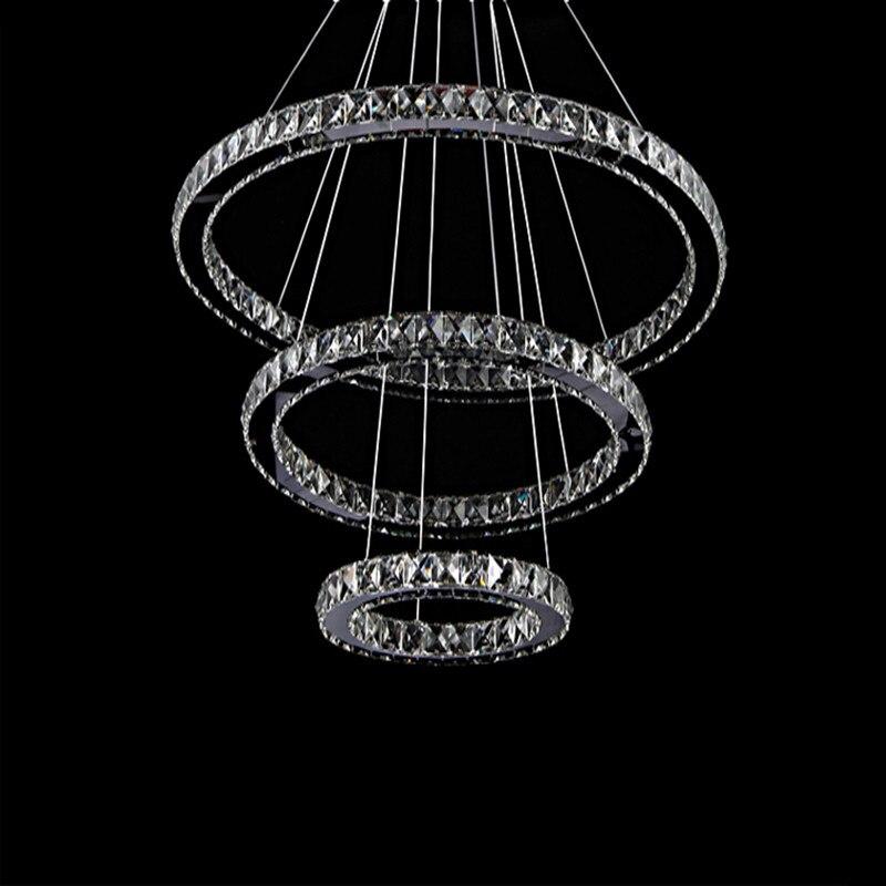 3 Rings Crystal LED Chandelier Light Fixture Hanging Suspension