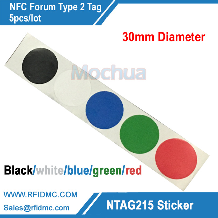 5pcs Ntag215 Sticker with 5 color printing NTAG215 Label NFC Sticker NTAG215 Tag For Tagmo