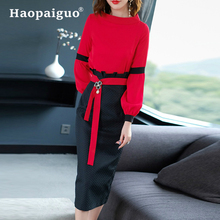 S-XXL Plus Size 2 Piece Set Women Lace Patchwork Red Casual Blouse and Midi Office Wrap Bodycon Black Dress Women Two Piece Set