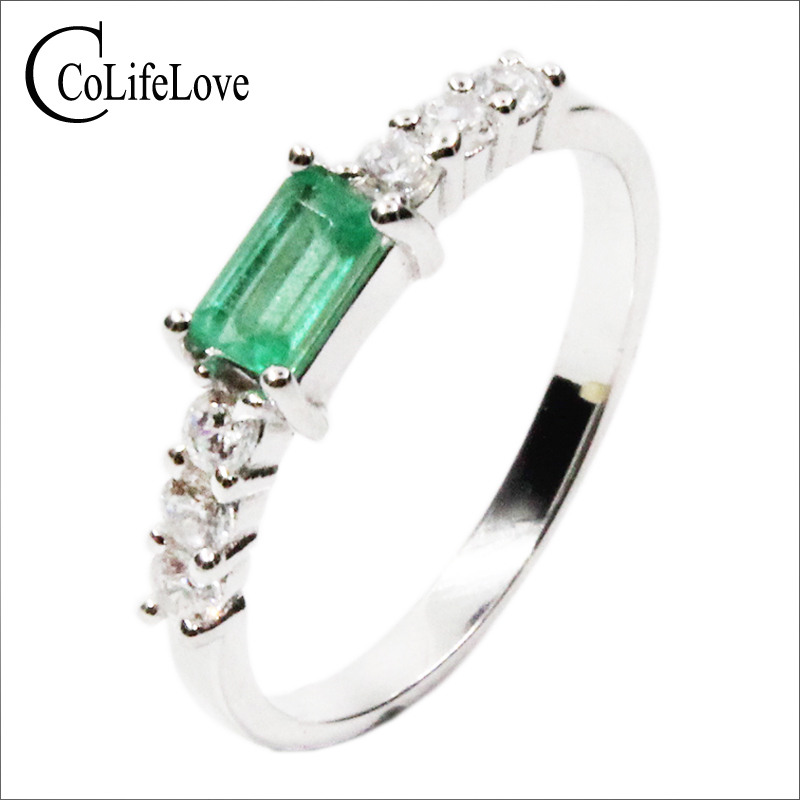 Simple silver emerald ring 3 5mm natural emerald gemstone solid silver 925 silver emerald ring valentine