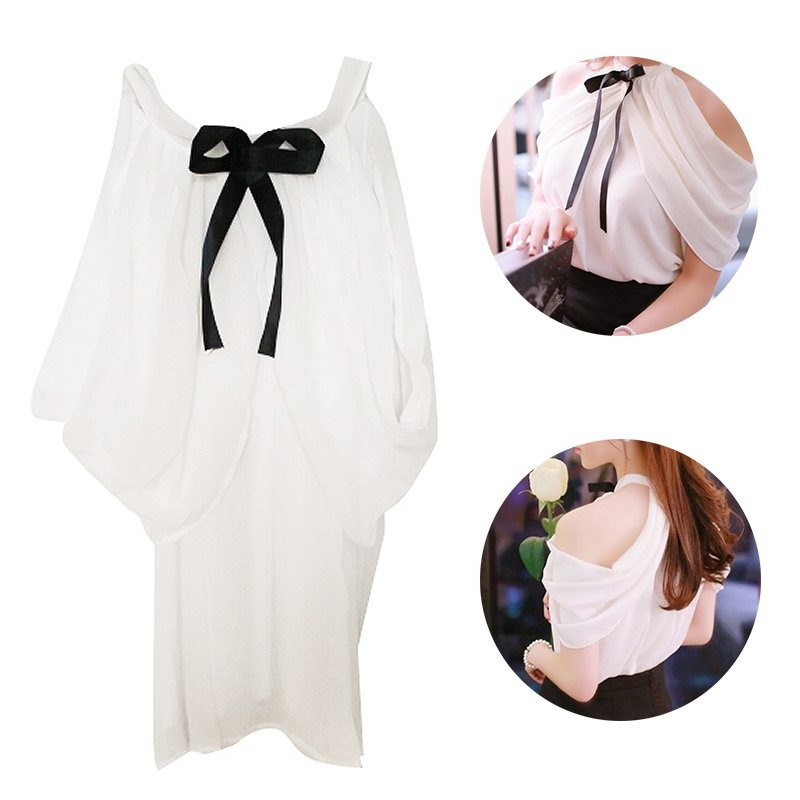 HTB13HJTB2iSBuNkSnhJq6zDcpXaK - White Shirt Women Sexy Off Shoulder Top Slash Neck Slim Wrap See Through Chiffon Blouse
