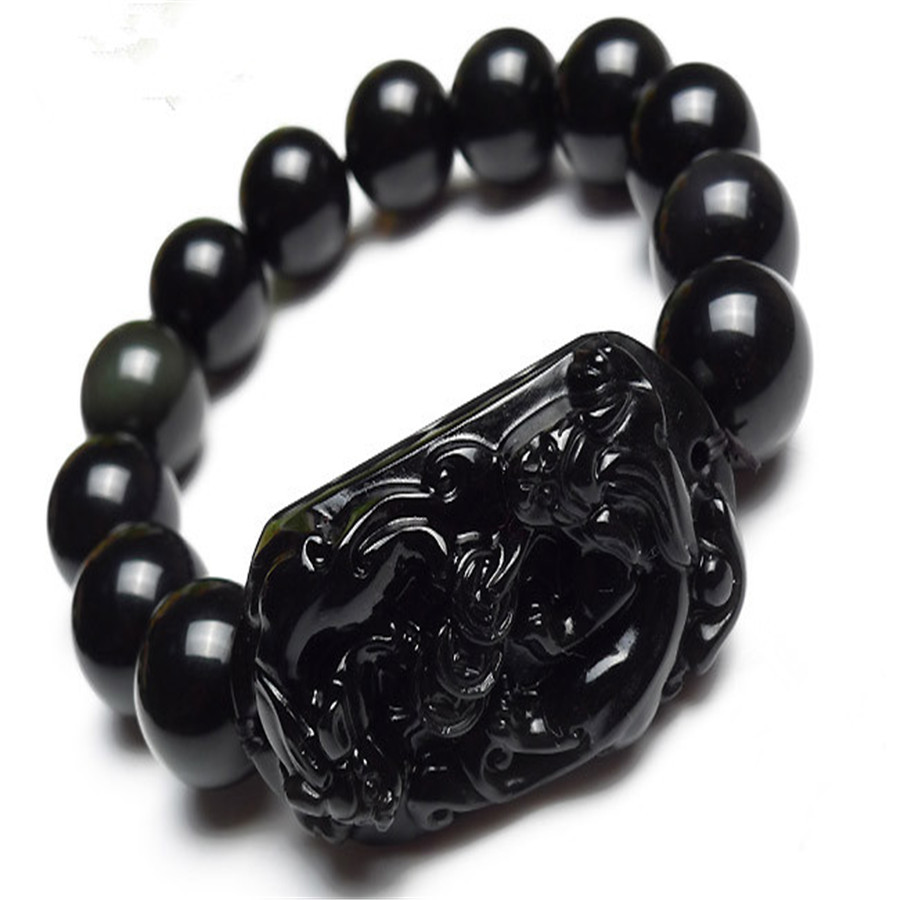 Free Shipping 14mm Natural Stone Black Obsidian Round Loose Beads Jewelry Pi Xiu Brave Troops Powerful Mens Stretch Bracelet 8aaaaaaaa natural stone gold obsidian cat s eye round beads stretch bracelet jewelry with lucky evil brave troops for men women