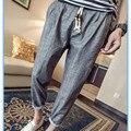 2016 Pantalones de Lino Hombres Pantalones Casuales Para Hombre de Moda Simple de Tobillo-longitud Pantalones Rectos Sólidos Pantalones de Marca Ropa de Gran Tamaño M-5XL P310