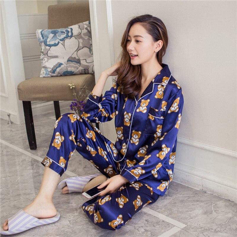Foply 2018 Autumn Women Ladies Sexy Satin Silk   Pajamas     Sets   Long Sleeve Tops+Pants Sleepwear mujer Nightwear pyjama femme