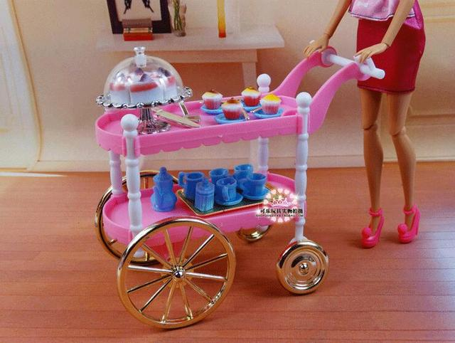 شحن مجاني فتاة اللعب مجموعة الوردي كعكة سيارة الشاي الوقت 1/6 إكسسوارات دمي دمية الأثاث ل دمية باربي