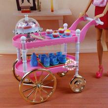 Free Shipping girl play set Pink cake car tea time 1/6 doll accessories doll furniture for barbie doll-in Dolls Accessories from Toys & Hobbies on AliExpress