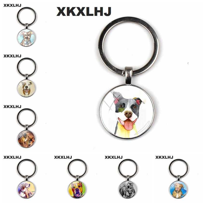 Xkxlhj 2018 moda pit bull cão chaveiro pitbull chaveiro cúpula de vidro chaveiros prata mão redonda artesanato chaveiros para uma mulher saco