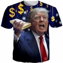 2017 New Novetly Mens T-shirt Donald Trump 3D Print T Shirts Summer Casual Fashion Trump T Shirts Homme Plus Size 5XL R2867