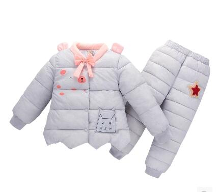 Children down cotton-padded jacket suits More girls warm cotton trousers Children's wear two-piece han edition printing cotton padded jacket is beautiful and comfortable small cotton padded jacket of cultivate one s morality