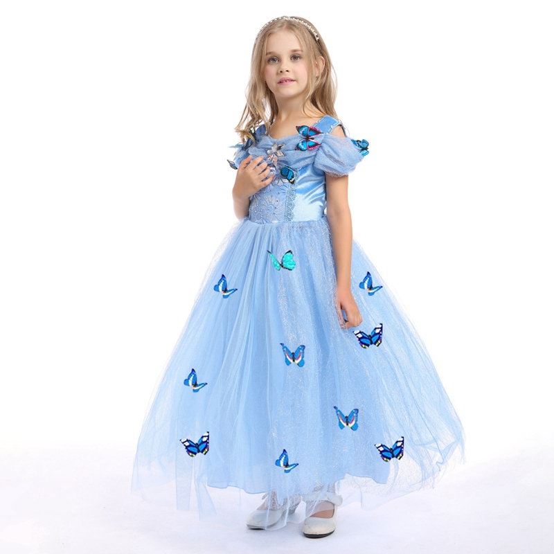 Flower Girls Dress 2017 New Princess Costumes Christmas Halloween Clothing Children Party Dresses Butterfly Lace Vestidos GD52 fashion christmas dress girls party accessories children s halloween costumes for girls party dress kids cute birthday dresses