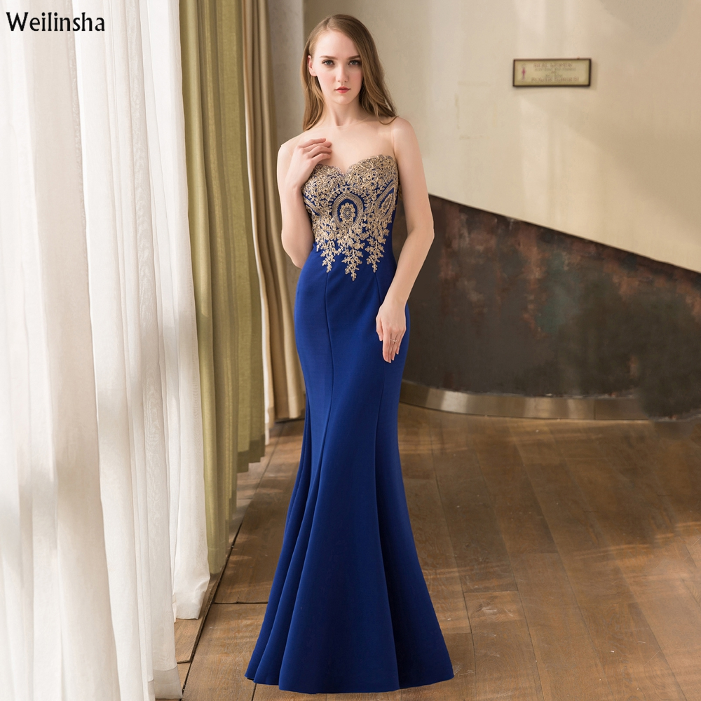 Weilinsha New Fashion 2017 Royal Blue Evening Dress Close-fitting Mermaid Gold Appliques Longue Vestido de Festa(China (Mainland))