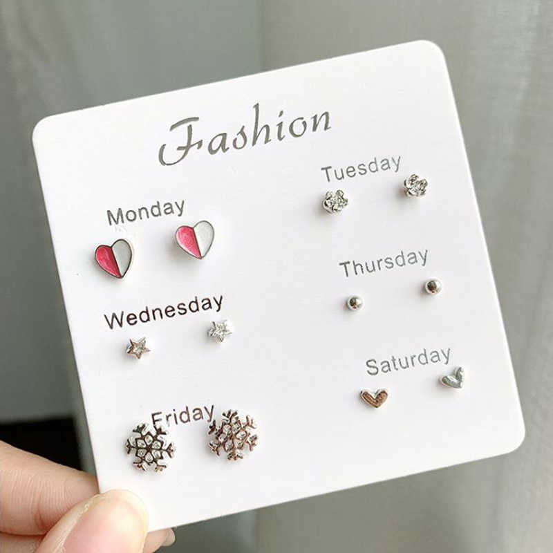 6 pairs /lot Cute Heart Bowknot Moon Small Stud Earrings Sets For Women Child Round Rhinestone Pearl Star Earring Jewelry Gifts