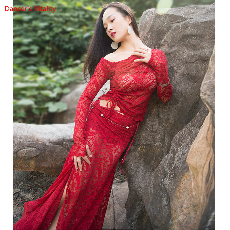 New Belly Dance Costume Set Lace Eastern Skirt 2 Piece Dress Sexy Dancer Oriental Practice Clothes