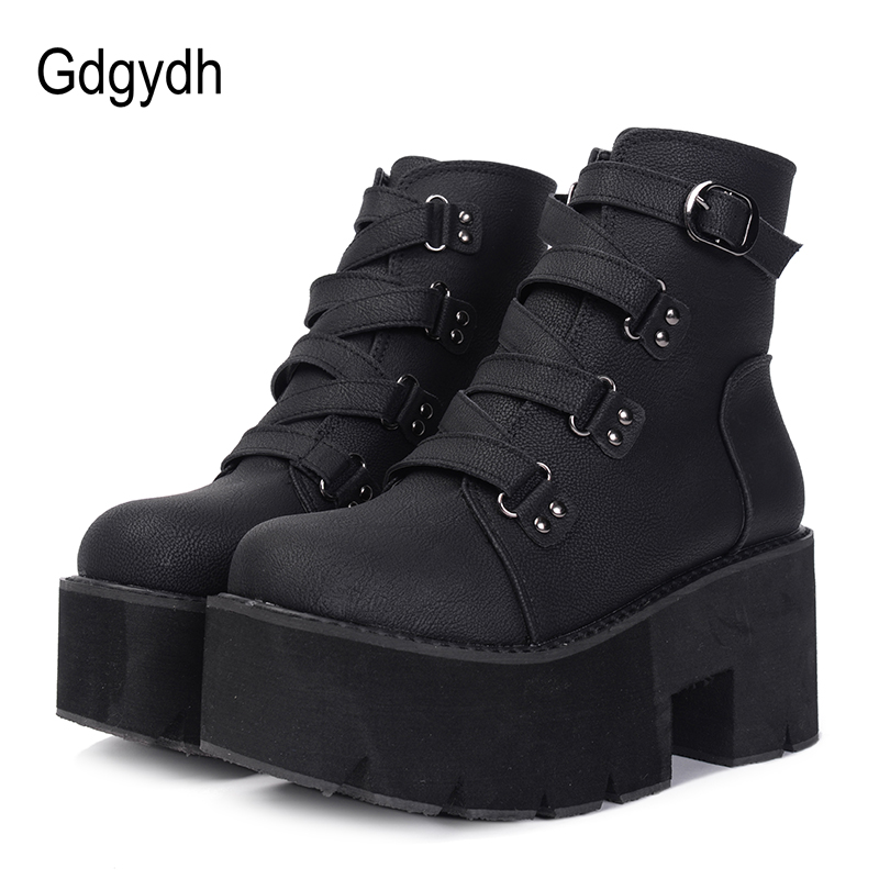 Gdgydh Spring Autumn Ankle Boots Women Platform Boots Rubber Sole Buckle Black Leather PU High Heels