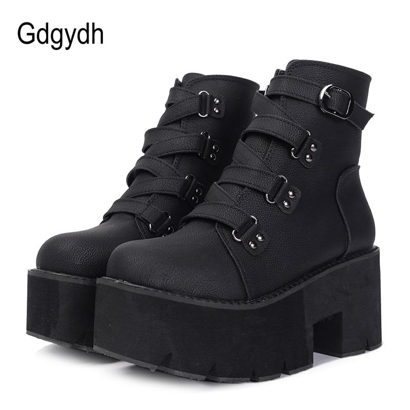 Gdgydh/весенне-осенние ботильоны женские ботинки на платформе Резиновая подошва Пряжка черная кожа PU обувь на высоком каблуке Женская Удобная