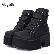 Gdgydh 봄 가을 발목 부츠 여성 플랫폼 부츠 고무 단독 버클 블랙 가죽 PU 하이힐 신발 여성 편안한