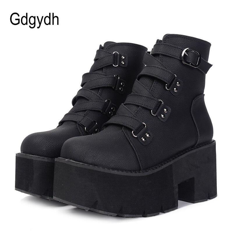 Gdgydh Printemps Automne bottines Femmes Plate-Forme Bottes semelle en caoutchouc Boucle Noir En Cuir PU talons hauts chaussures pour femme Confortable