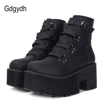 Gdgydh primavera otoño Botines mujer botas de plataforma suela de goma hebilla de cuero negro PU tacones altos zapatos mujer cómodo
