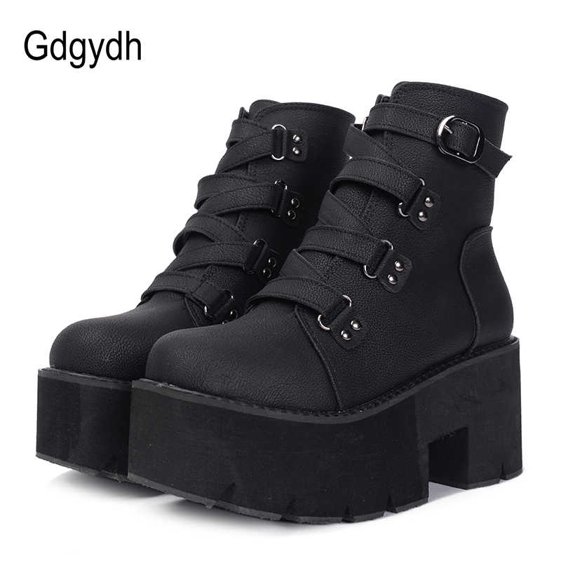 Gdgydh אביב סתיו קרסול מגפי נשים פלטפורמת מגפי גומי בלעדי אבזם שחור עור PU עקבים גבוהים נעלי אישה נוח