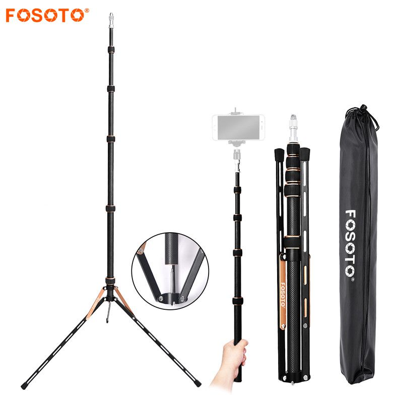 Fosoto FT 220 Carbon Fiber Led Light Tripod Stand Monopod For Camera Photo Studio Photographic Lighting Flash Umbrella Reflector-in Photographic Lighting from Consumer Electronics
