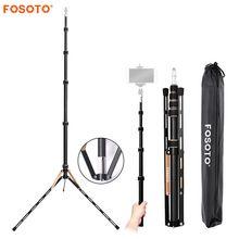 Fosoto FT 220 ألياف الكربون مصباح ليد حامل ثلاثي القوائم Monopod للكاميرا صور استوديو التصوير الفوتوغرافي الإضاءة فلاش مظلة عاكس