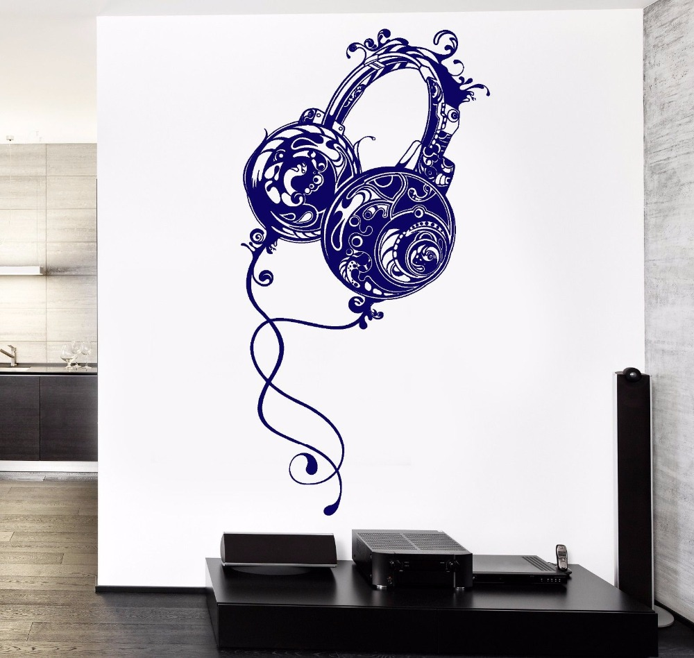 YOYOYU Wall Decal Vinyl Art Removeable Room Deoration Music Headphones Rock Pop Song Guaranteed Quality Mural Poster YO343 image