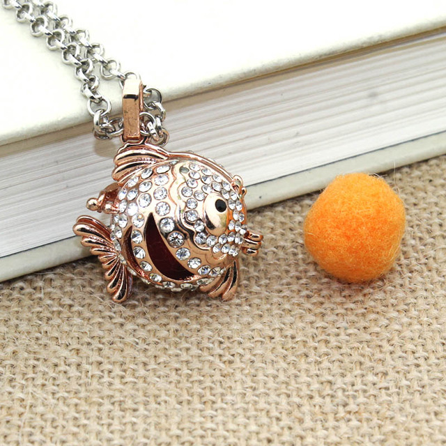 Fish Boho Necklace For Women Necklace Aromatherapy Jewelry Essential Oil Diffuser Necklace With Lockets Felt Pat 040120
