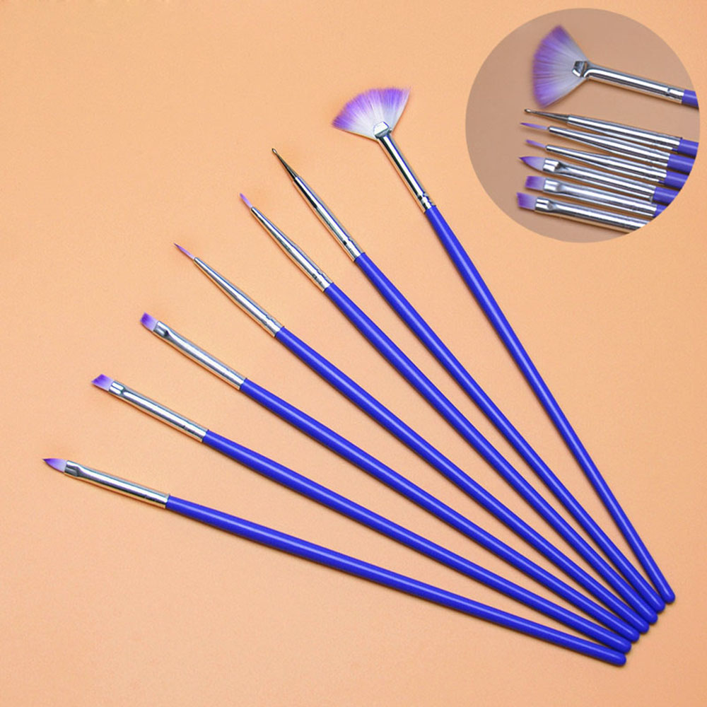 7PCS/Set Nail Art Brush Pen Dotting Painting Drawing Fan Line Builder Design Polish Gel UV Tips Decoration Manicure Tools Beauty
