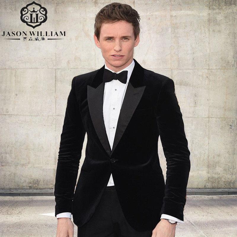 LN050 2017 Oscar One Button Black Velvet Groom Tuxedos Groomsmen Men's Wedding Prom Suits Custom Made (Jacket+Pants+Tie)