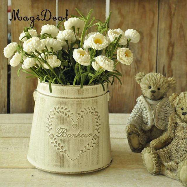 AliExpress & US $4.99 18% OFF|MagiDeal Rustic Vase White Embossed Pattern Planter Tin Bucket Metal Flower Vase #1/ #2-in Vases from Home \u0026 Garden on Aliexpress.com ...