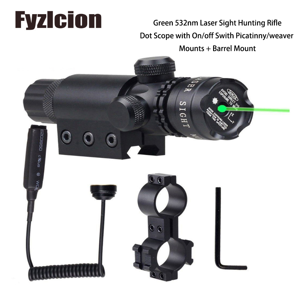 Green 532nm Laser Sight Hunting Rifle Dot Scope with On/off Swith Picatinny/weaver Mounts + Barrel Mount
